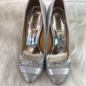 Badgley Mischka silver glitter heels